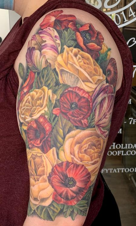 Tattoos - Floral half sleeve - 141716