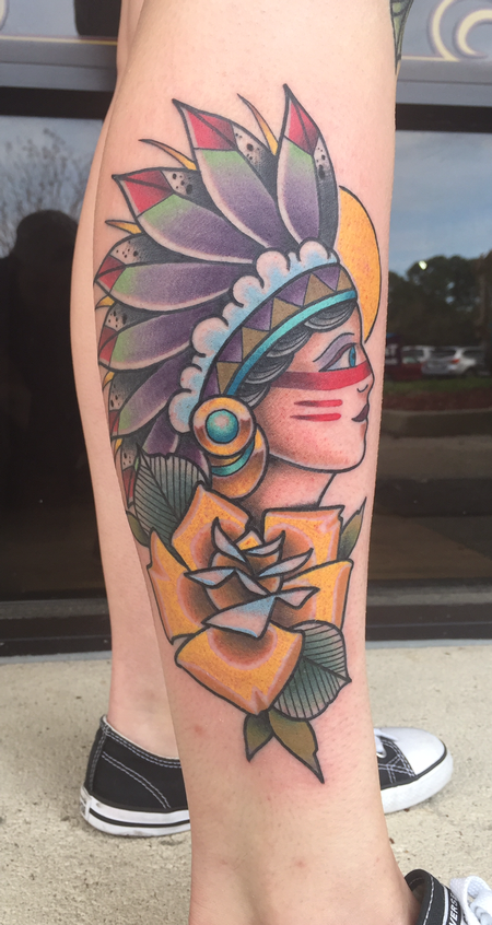 Tattoos - Native American girl with rose - 139839
