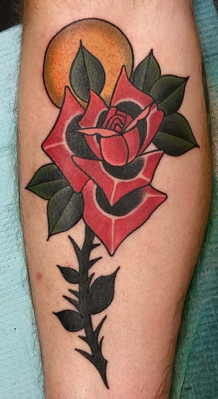 Drew Potts - Rose tattoo