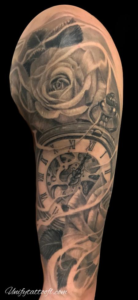 Tattoos - Pocket watch and roses - 138903